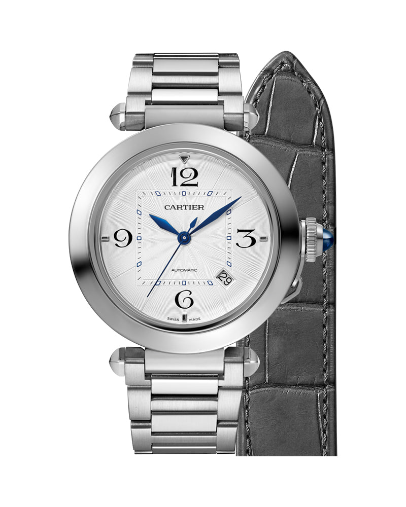 PASHA DE CARTIER, 41 MM, AUTOMATIC MOVEMENT, STEEL, INTERCHANGEABLE METAL AND LEATHER STRAPS