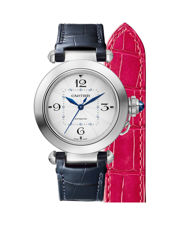 PASHA DE CARTIER, 35 MM, AUTOMATIC MOVEMENT, STEEL, 2 INTERCHANGEABLE LEATHER STRAPS