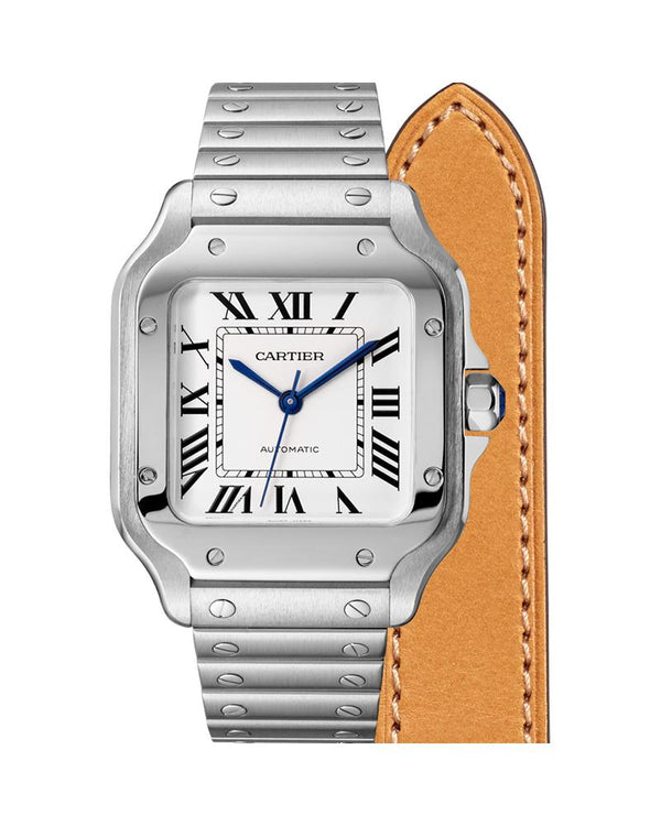 SANTOS DE CARTIER, MEDIUM, AUTOMATIC, STEEL, INTERCHANGEABLE STEEL AND LEATHER BRACELETS
