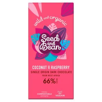 Organic Seed & Bean Coconut & Raspberry Sao Tome Dark Bar 66% 85g