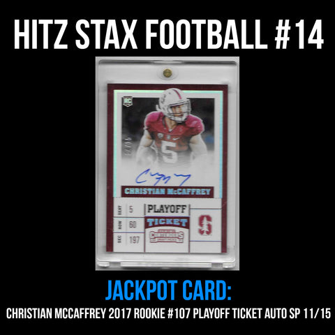 Hitz Stax - Football #14 - Christian McCaffrey Rookie Playoff Ticket Auto SP/15