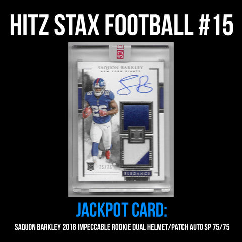 Hitz Stax - Football #15 - Saquon Barkley Impeccable Rookie Helmet/Patch Auto 75/75