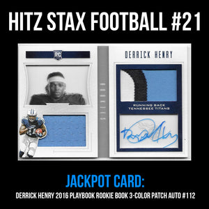 Hitz Stax - Football #21 - Derrick Henry Rookie Booklet 3-Color Patch Auto
