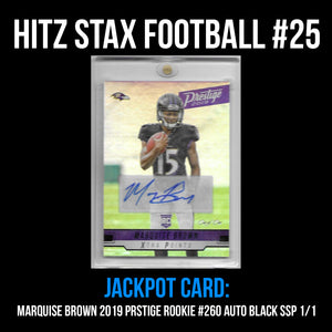 "Hitz Stax - Football #25 - Marquise ""Hollywood"" Brown Rookie Auto TRUE 1/1"