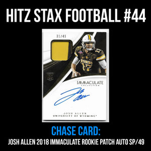 Hitz Stax - Football #44 - Josh Allen Rookie Patch Auto SP/49