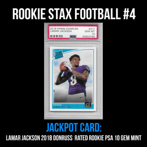 Rookie Stax - Football #4 - Lamar Jackson Donruss Rated Rookie PSA 10