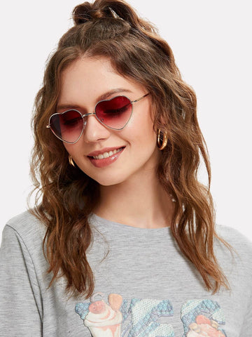 Burgundy Heart Lens Ombre Sunglasses