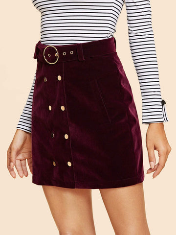 100% Polyester Double Button Belted Velvet Skirt