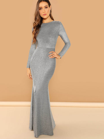 Backless Round Neck Open Back Slit Glitter Mermaid Prom Dress