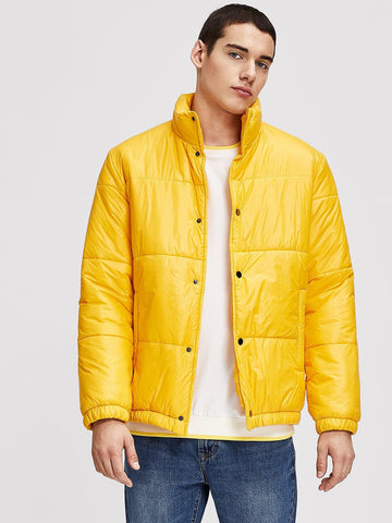 Yellow Single Breasted Zip Up Collar Solid Coat
