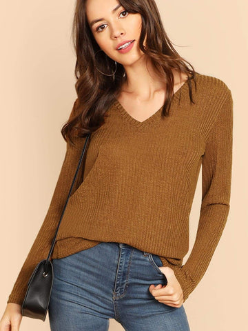 Long Sleeve V-neck Heathered Knit Tee Top