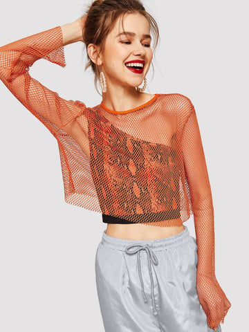 Orange Round Neck Long Sleeve Solid Fishnet Mesh Sheer Crop Top