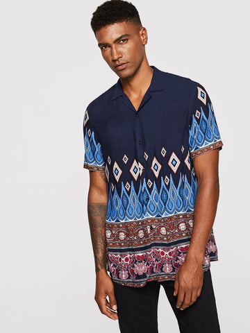 100% Rayon Short Sleeve Revere Collar Paisley Shirt