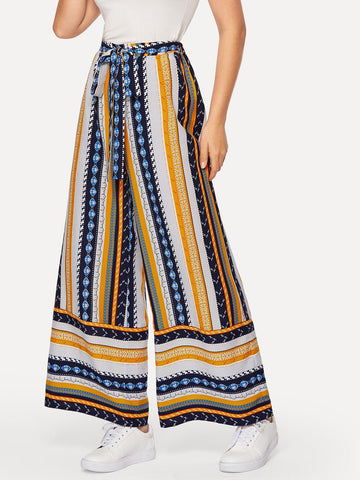 Wide Leg Self Belted Geo Print Palazzo Pants