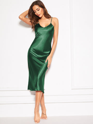 Green Longline Satin Cami Slip Dress