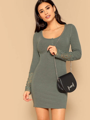 Army Green Scoop Neck Press Buttoned Guipure Lace Cuff Bodycon Dress