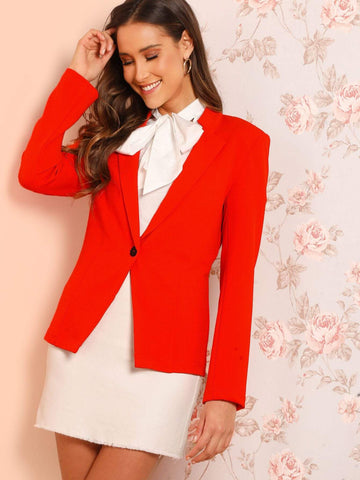 Notched Slim Fitted Solid Buttoned Blazer