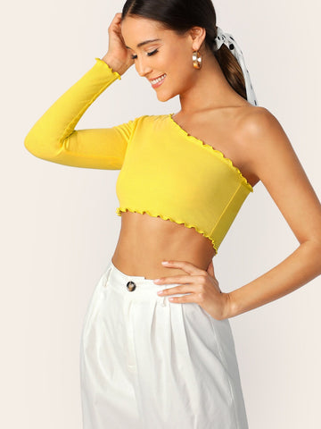 Yellow One Shoulder Lettuce Trim Crop Top