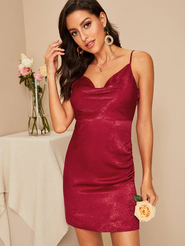 Burgundy Sleeveless Spaghetti Strap Solid Bodycon Satin Slip Dress