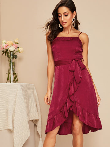 Burgundy Sleeveless Asymmetrical Ruffle Hem Wrap Belted Satin Slip Dress
