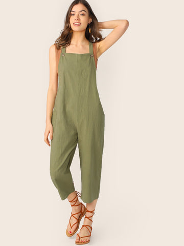 Army Green Square Neck Linen Culotte Straight Leg Overall Jumpsuit