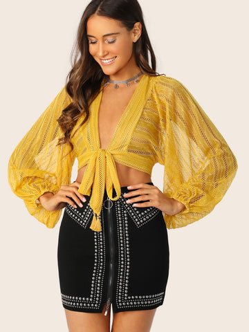 Yellow Tie Front Balloon Sleeve Sheer Lace Crop Top