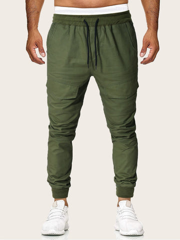 Army Green Low Drawstring Waist Beam Cargo Pants