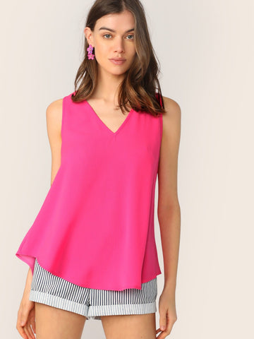 Sleeveless V-neck Flowy Top