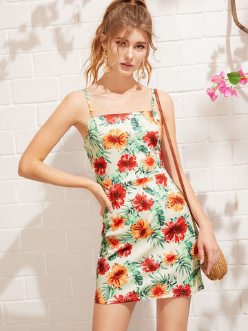 Boho Sleeveless Spaghetti Strap Floral Print Zip Back Cami Dress