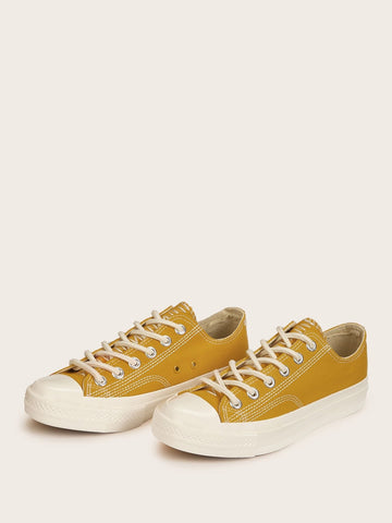 Yellow Lace-up Low Top Canvas Sneakers