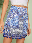 Blue Pompom Hem Tribal Print Mini Skirt