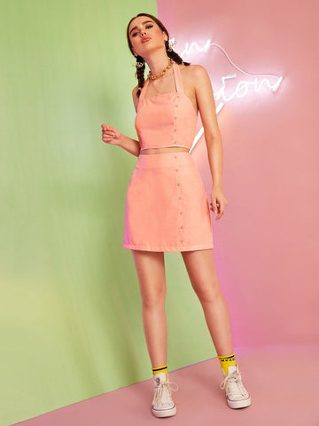Pastel Orange Sleeveless Button Detail Halter Top and Skirt Set