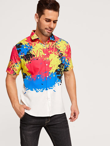 Short Sleeve Paint Splatter Pattern Button Front Shirt