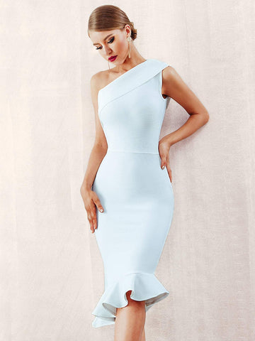 Asymmetrical Neck Sleeveless Ruffle Hem One Shoulder Bandage Pencil Dress