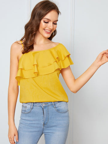 Yellow Asymmetrical Neck Ruffle Trim Solid Top