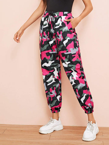 Drawstring Waist Camo Crop Pants