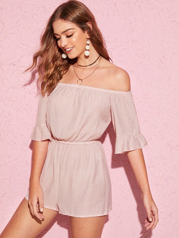 Pastel Pink Half Sleeve Ruffle Cuff Elastic Waist Off Shoulder Playsuit Jumpsuit