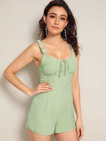 Pastel Green Sleeveless Frilled Strap Tie Front Zip Back Bustier Romper Jumpsuit