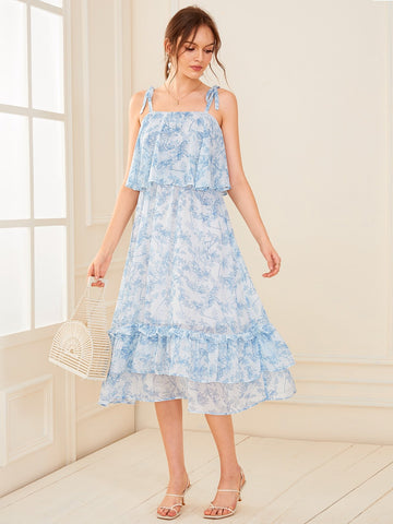 Pastel Blue Sleeveless Plant Print Layered Hem Knotted Strap Dress