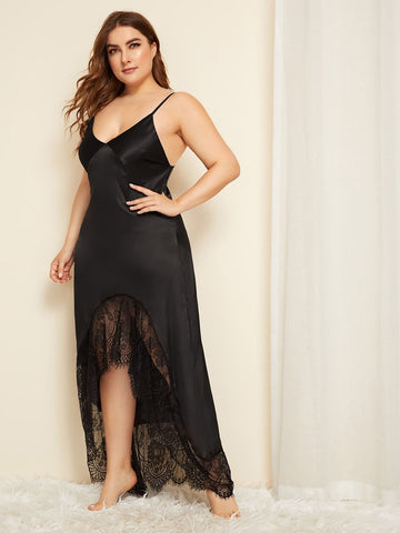 Plus Size Black Spaghetti Strap Scoop Neck Lace Trim Cut Out Satin Night Dress Sleepwear