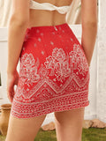 Bright Red High Waist Tribal Print Zip Back Skinny Skirt