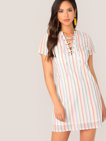 White Lace Up Front Striped V-Neck Short Sleeve Dress