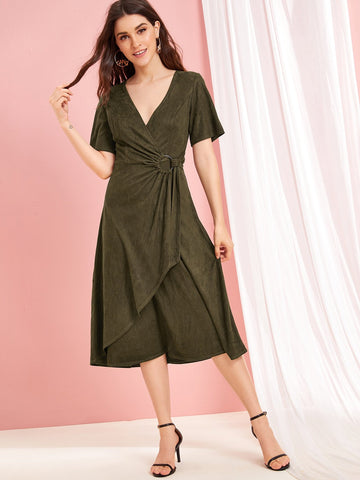 Army Green High Waist Surplice Neck Wrap Knotted Ring Detail Suede Dress