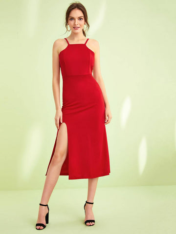 Bright Red Sleeveless Solid Split Hem Backless Dress