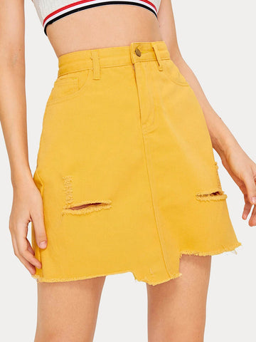 Yellow High Waist Above Knee Raw Hem Ripped Denim Skirt