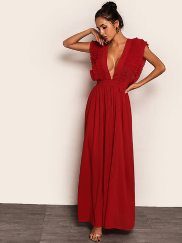 Bright Red Cap Sleeve Plunging Neck Tie Back Pleated Ruffle Armhole Dress