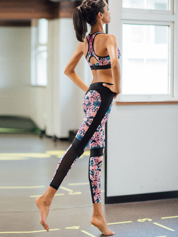 Wide Waistband Mesh Insert Tie Dye Leggings