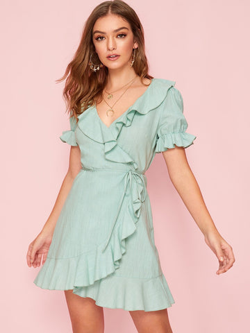 Pastel Green V-Neck Short Sleeve Ruffle Trim Tie Waist Wrap Dress