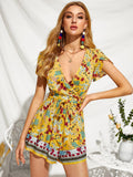 Yellow Short Sleeve Floral Print Plunging Neck Self Belted Playsuit Jumpsuit