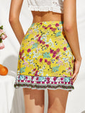 Yellow Mid Waist Floral Print Ruffle Trim Wrap Knot Mini Skirt